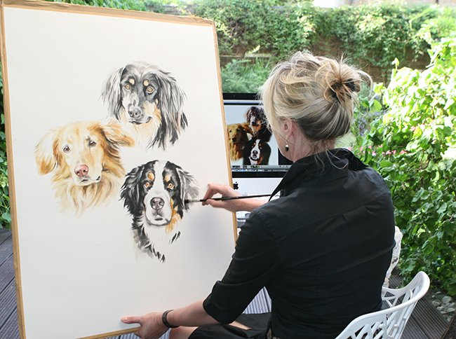 Hundeportrait wird gemalt