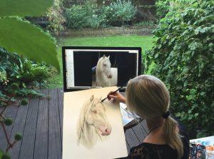 Pferdeportrait Zeichnung Aquarell nach Foto