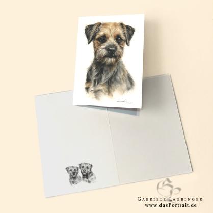 Klappkarte Postkarte Kunstdruck Border Terrier Malerin Gabriele Laubinger