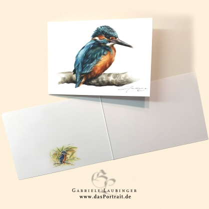 Klappkarte Postkarte Kunstdruck Eisvogel Malerin Gabriele Laubinger