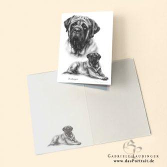 Klappkarte Postkarte Kunstdruck English Mastiff Malerin Gabriele Laubinger