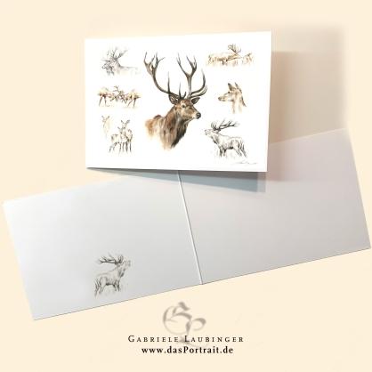 Klappkarte Postkarte Kunstdruck Hirsche Malerin Gabriele Laubinger