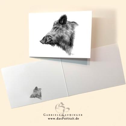 Klappkarte Postkarte Kunstdruck Keiler Malerin Gabriele Laubinger