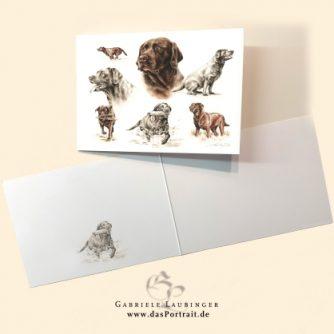 Klappkarte Postkarte Kunstdruck Labrador Malerin Gabriele Laubinger