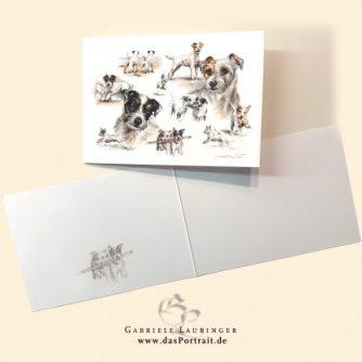 Klappkarte Postkarte Kunstdruck Parson Russell Terrier Malerin Gabriele Laubinger