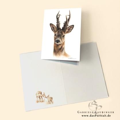 Klappkarte Postkarte Kunstdruck Rehbock Malerin Gabriele Laubinger