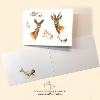 Klappkarte Postkarte Kunstdruck Rehe Malerin Gabriele Laubinger