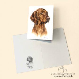 Klappkarte Postkarte Kunstdruck Vizsla Malerin Gabriele Laubinger
