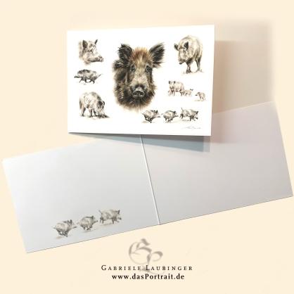Klappkarte Postkarte Kunstdruck Wildschweine Malerin Gabriele Laubinger