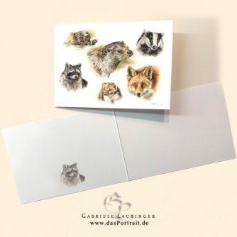 Klappkarte Postkarte Kunstdruck Wildtiere Malerin Gabriele Laubinger