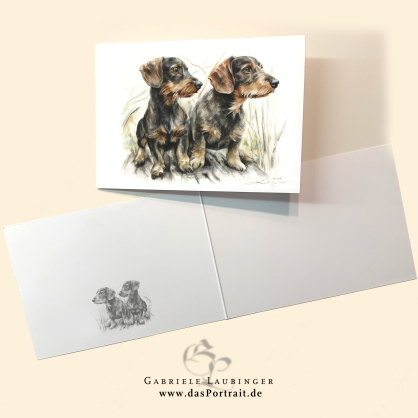 Klappkarte Postkarte Kunstdruck Rauhaar Dackel Malerin Gabriele Laubinger