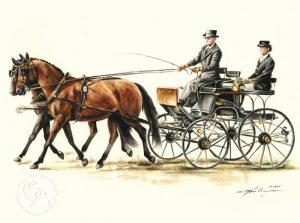 Kutsche Aquarell Pferdeportrait